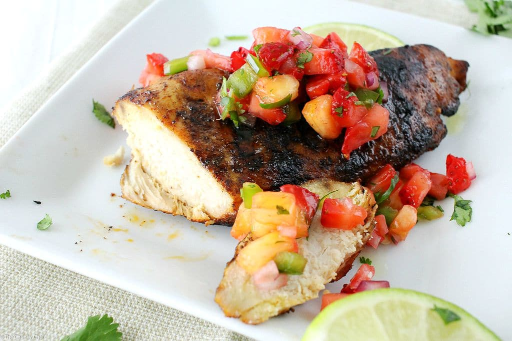 The Chunky Chef   Grilled Tequila Lime Chicken   A simple and easy marinade gives this tequila lime chicken an incredible flavor!  Perfect on the grill, with a salsa, or in a taco/burrito bowl!