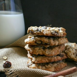 Soft and chewy spiced oatmeal cookies, studded with crunchy toasted walnuts and sweet bursts of brandy-soaked raisins... the ultimate oatmeal raisin cookies