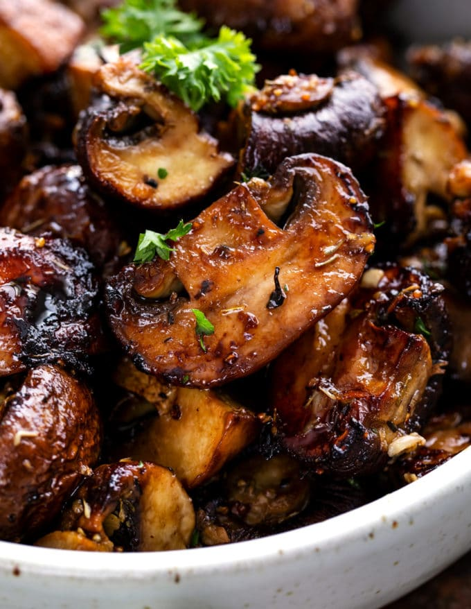 Close up of caramelized mushroom