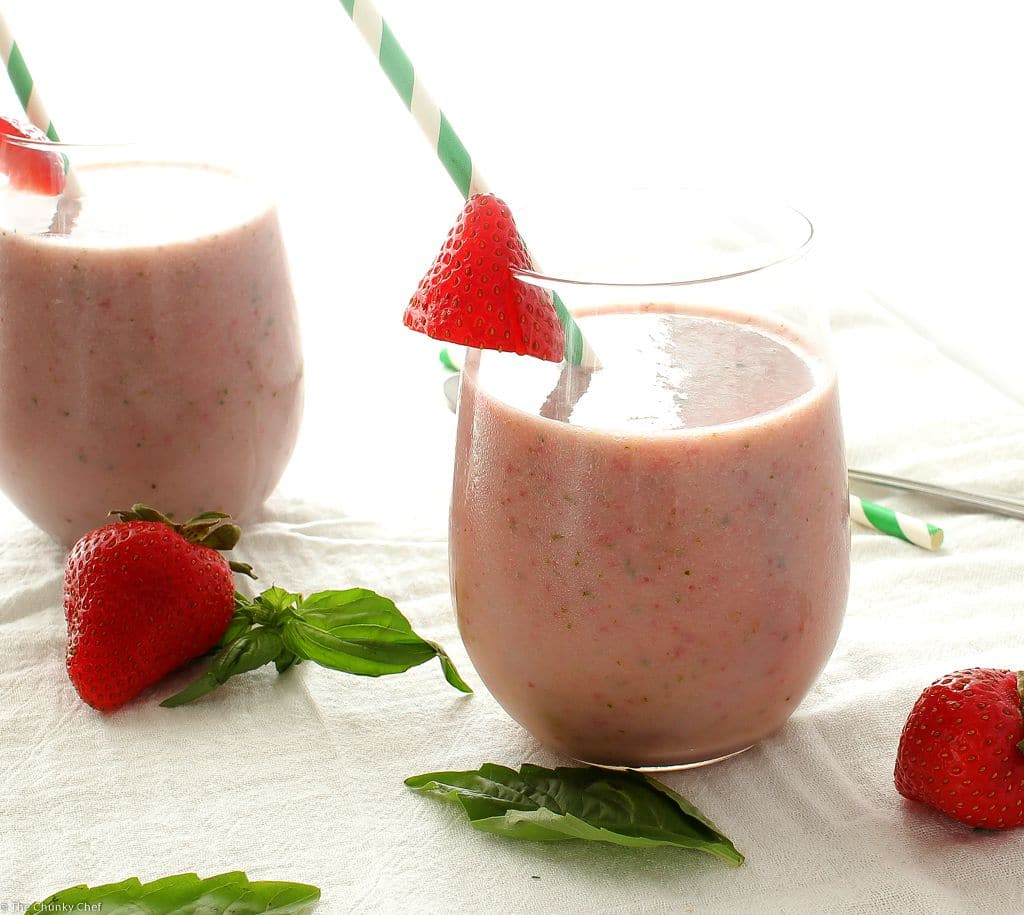 The Chunky Chef   Strawberry Basil Smoothie   Start your morning off right with a nutritious and delicious strawberry basil smoothie! Made with 6 simple ingredients, you'll love how easy it is to make