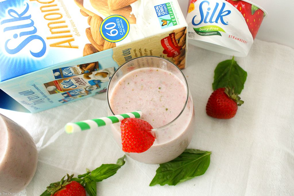 The Chunky Chef | Strawberry Basil Smoothie | Start your morning off right with a nutritious and delicious strawberry basil smoothie! Made with 6 simple ingredients, you'll love how easy it is to make