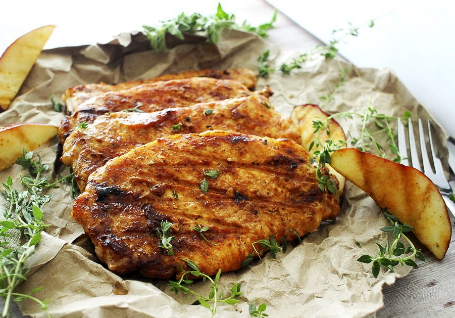Apple Cider and Thyme Grilled Pork Chops - The Chunky Chef