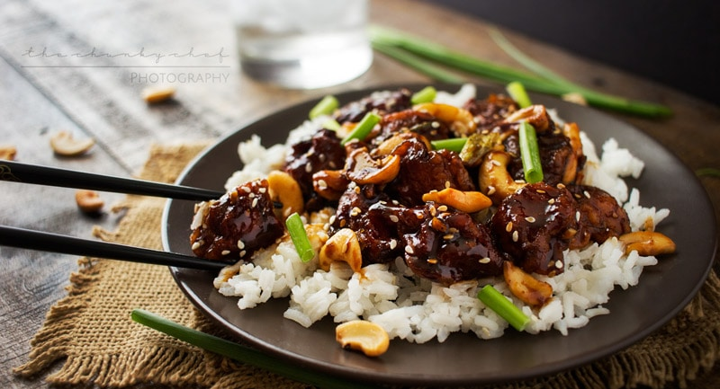 Copycat Spicy Cashew Chicken   The Chunky Chef   This cashew chicken is deliciously spicy and savory, and tastes almost exactly like The Cheesecake Factory's recipe. You won't want takeout anymore!