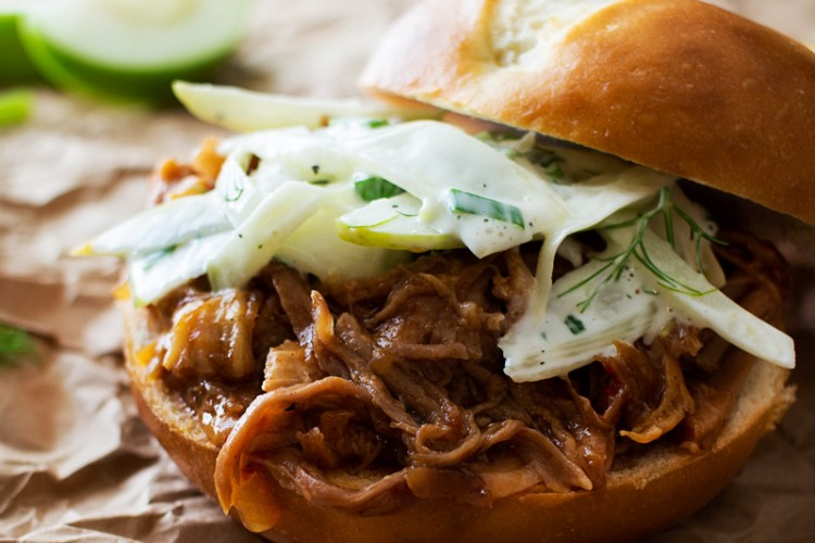 Apple Bourbon Pulled Pork Sandwiches