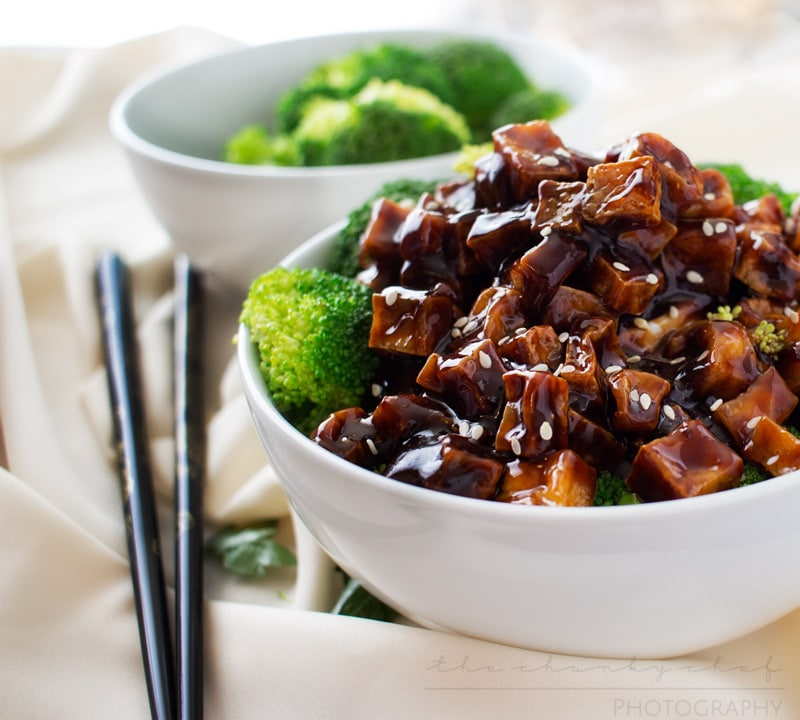 Crispy Spicy Peanut Tofu Stir Fry   The Chunky Chef   This tofu stir fry is great for vegetarians and meat eaters alike! Crispy baked tofu is stir fried in a deliciously flavorful spicy peanut sauce!