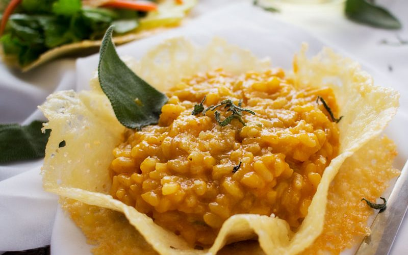 Pumpkin Risotto in Edible Parmesan Bowls – #FoodieMamas