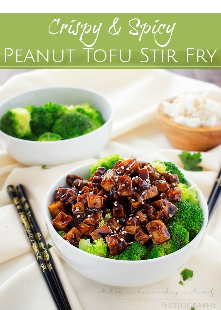 This tofu stir fry is great for vegetarians and meat eaters alike! Crispy baked tofu is stir fried in a deliciously flavorful spicy peanut sauce