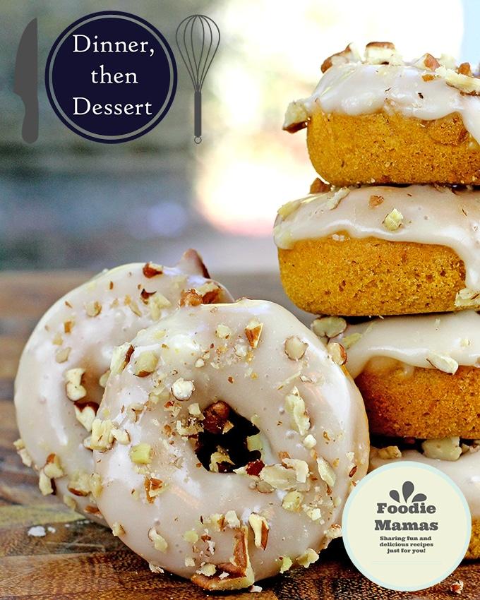 Baked Mini Pumpkin Pecan Donuts - Dinner Then Dessert