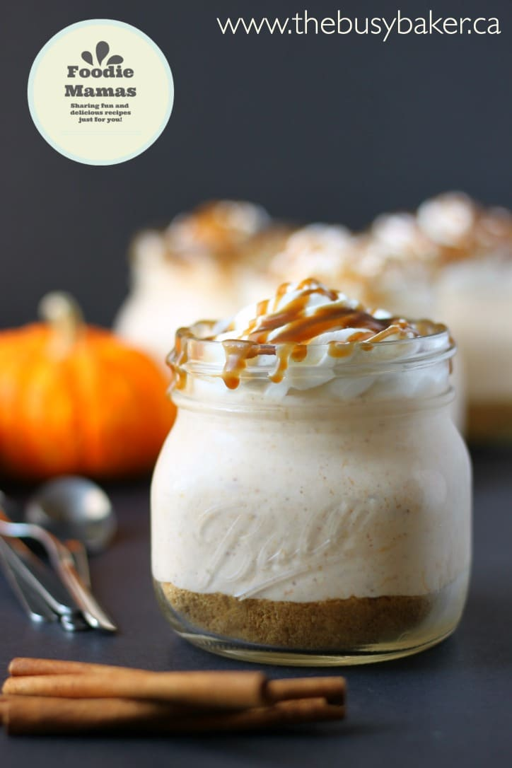 No-Bake Mason Jar Pumpkin Cheesecake - The Busy Baker