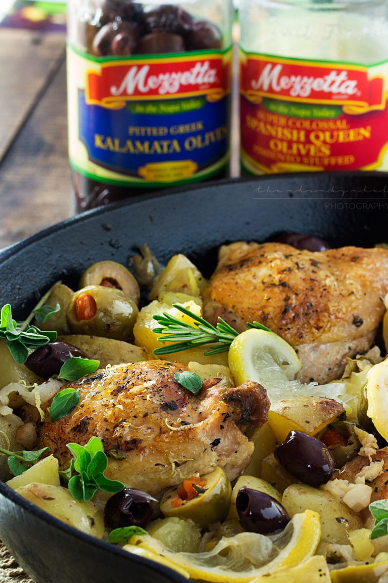 ... braised chicken with creamy potatoes, roasted olives, bright lemon and