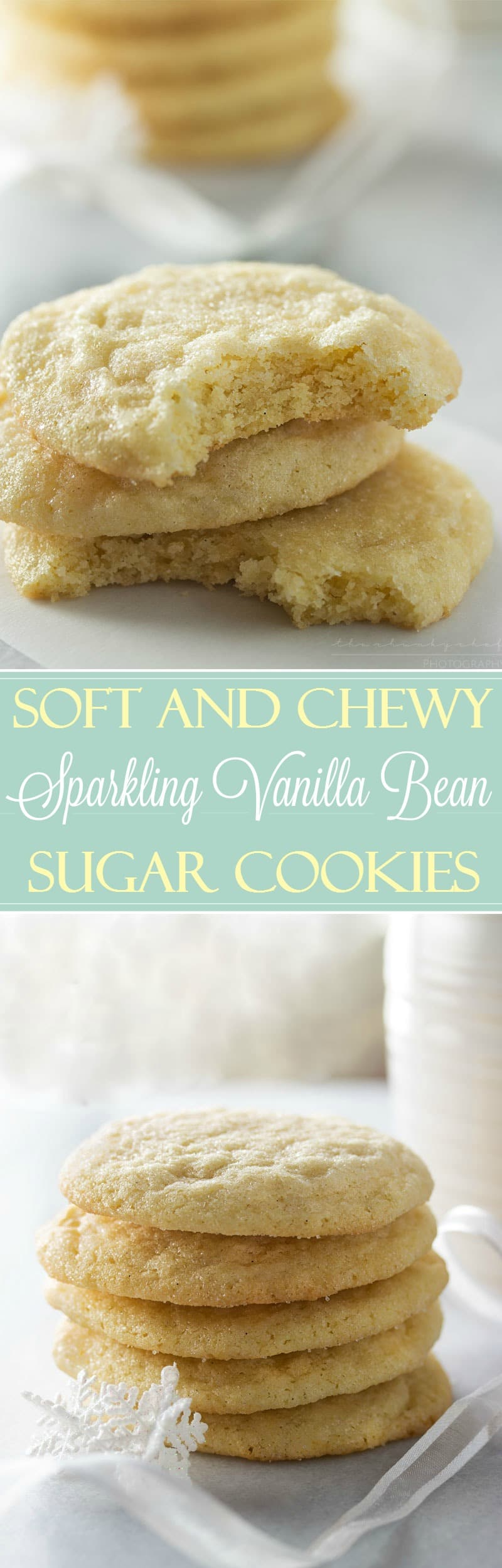 Soft Vanilla Bean Sugar Cookies | These vanilla bean sugar cookies are rolled in sugar for a sparkling appearance and a soft, light and chewy texture that will make these your new favorite!