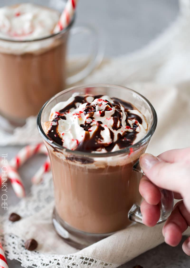 5 Minute Hot Chocolate | Thick, creamy, homemade hot chocolate, made easily in just 5 minutes! Add a bit of peppermint extract for a kiss of festive peppermint flavor! | http://thechunkychef.com