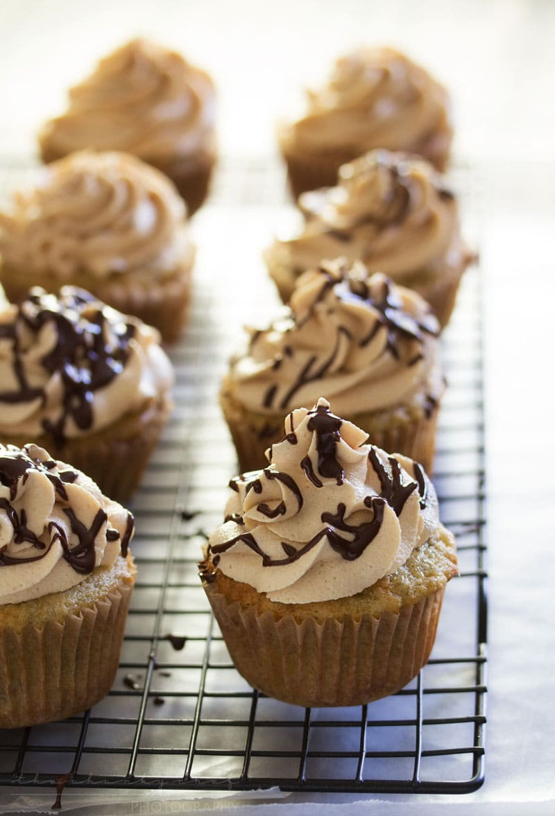 Banana Cupcakes with Peanut Butter Cream Cheese Frosting | The Chunky Chef