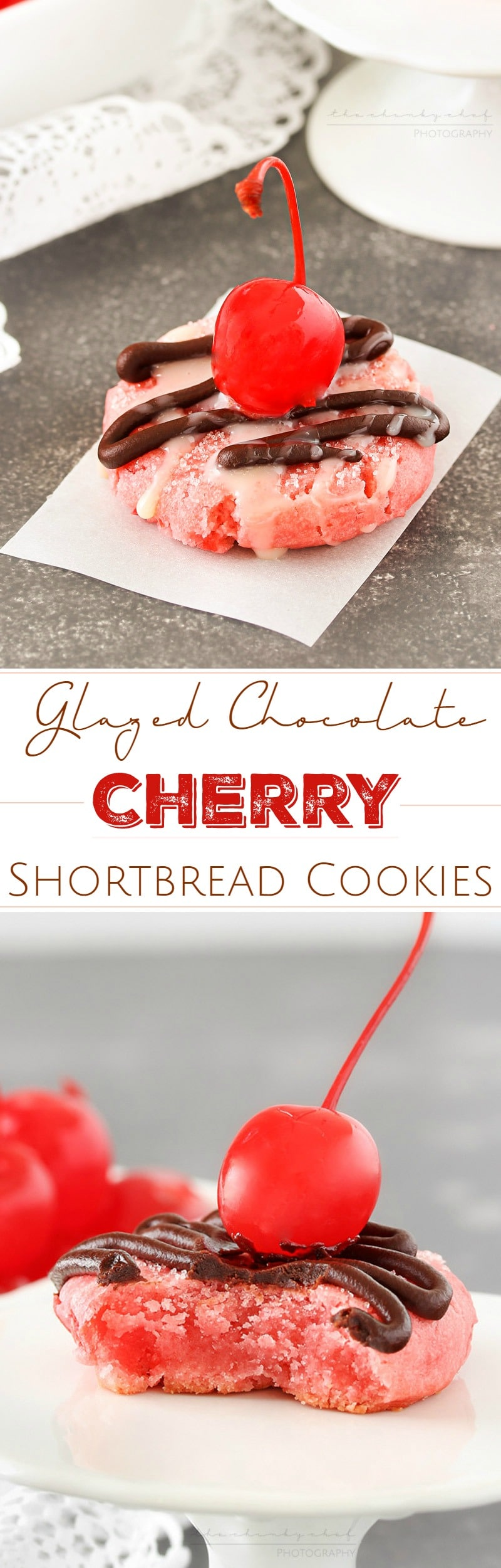 Glazed Chocolate Cherry Cookies | Soft and buttery cherry cookies, made with cherry juice and cherry pieces, are topped with a drizzle of melted chocolate, sweet glaze, and a cherry! | http://thechunkychef.com