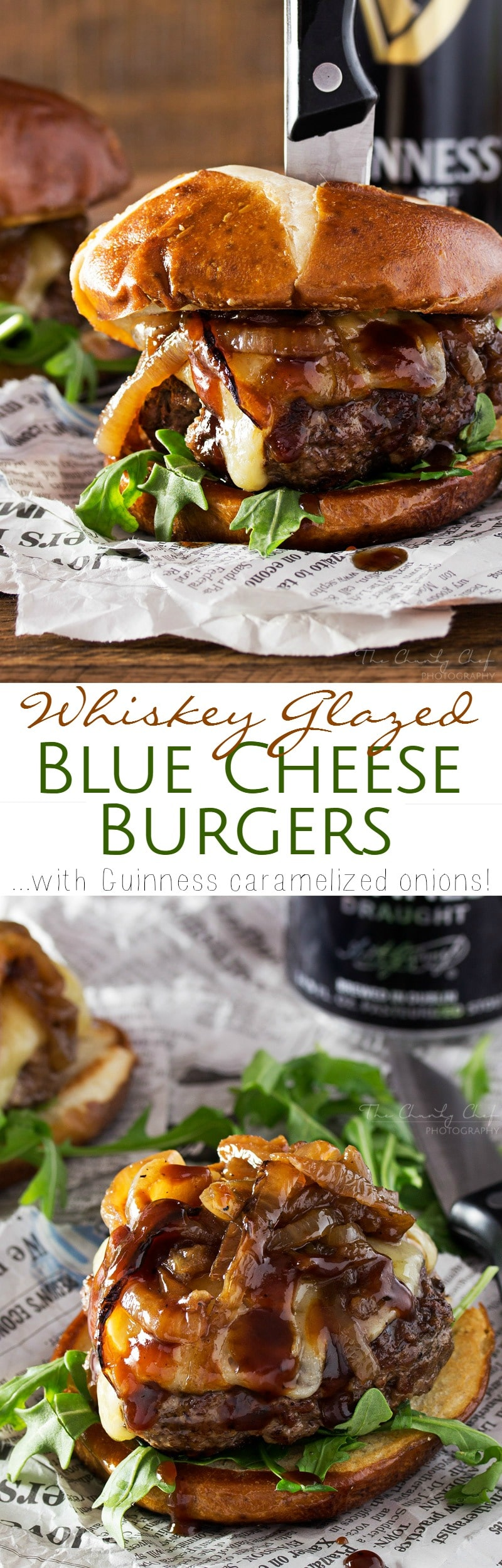 Whiskey Glazed Blue Cheese Burgers - The Chunky Chef