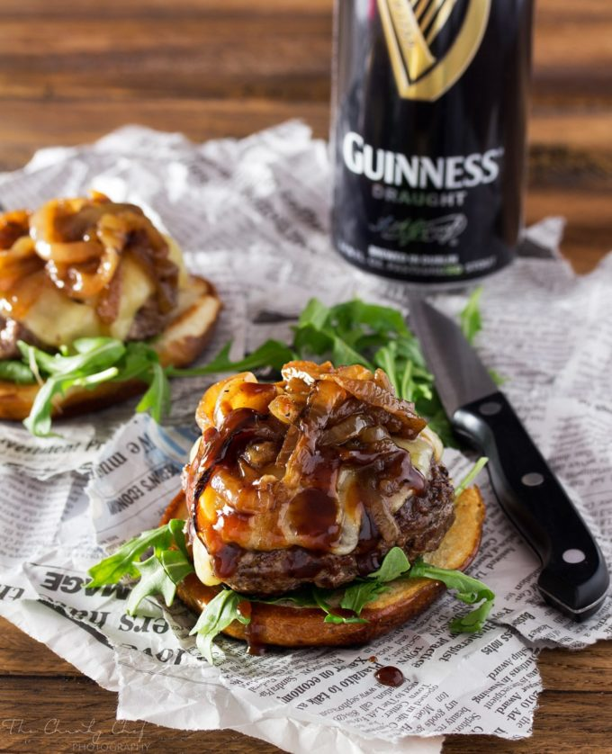 Whiskey-Glazed-Blue-Cheese-Burgers | These blue cheese burgers are brushed with a homemade whiskey glazed, topped with Irish cheese, and smothered in Guinness caramelized onions! | http://thechunkychef.com