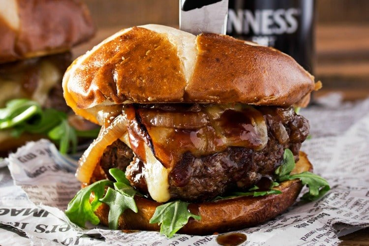 Whiskey Glazed Blue Cheese Burgers