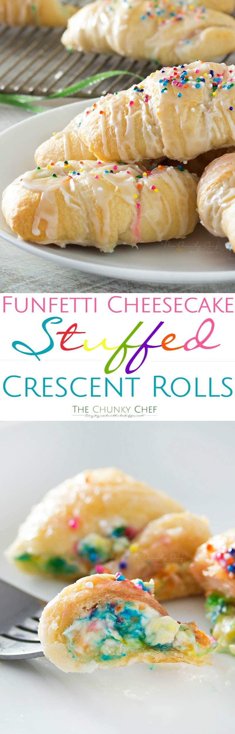 Funfetti-Cheesecake-Stuffed-Crescent-Rolls - Buttery crescent rolls are filled with an easy funfetti cheesecake spread, baked until golden, and drizzled with a vanilla glaze!! Perfect for kids! | http://thechunkychef.com
