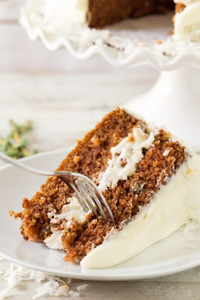 The Best Classic Carrot Cake | Rich, moist, and full of flavor, this carrot cake has been my Mom's signature dessert for years! Try this cake and you'll immediately know why! | http://thechunkychef.com