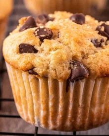 Get ready to toss those boxes of muffin mix, these homemade chocolate chip muffins are moist and tender, loaded with plenty of gooey chocolate, and so simple to make!  Directions for regular, jumbo and mini sized muffins! #muffins #chocolatechip #chocolate #kidfriendly #breakfast #brunch #baking #homemade #scratch #easyrecipe