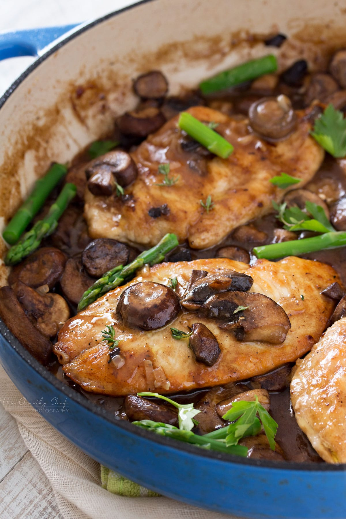 Chicken marsala with rich mushroom sauce in pan