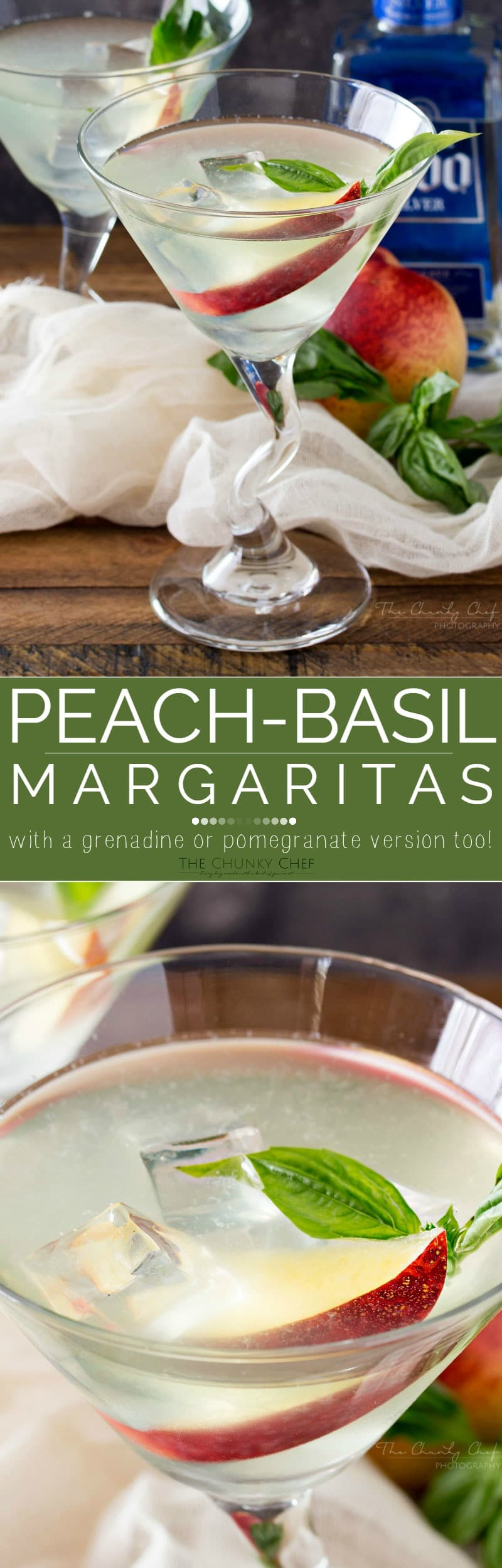 Peach Basil Margaritas | This peach basil margaritas recipe is a refreshing twist on a classic margarita! With a slice of fresh peach and a sprig of basil, it's sure to impress! | http://thechunkychef.com