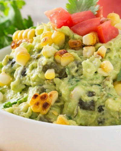 Roasted Poblano and Charred Corn Guacamole