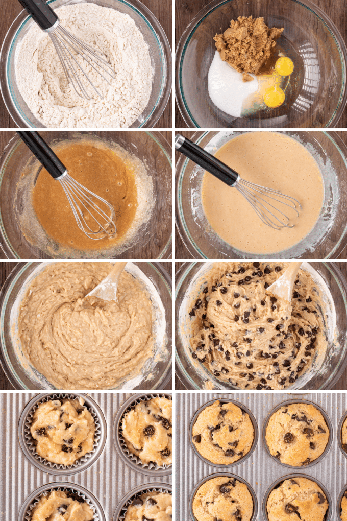 step by step how to make chocolate chip muffins