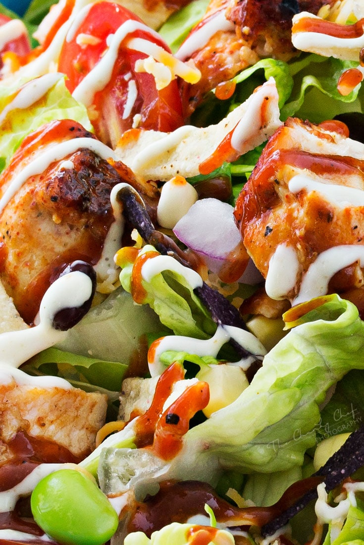 salad chicken bbq grilled sauce dressing chef ranch recipe recipes thechunkychef tender