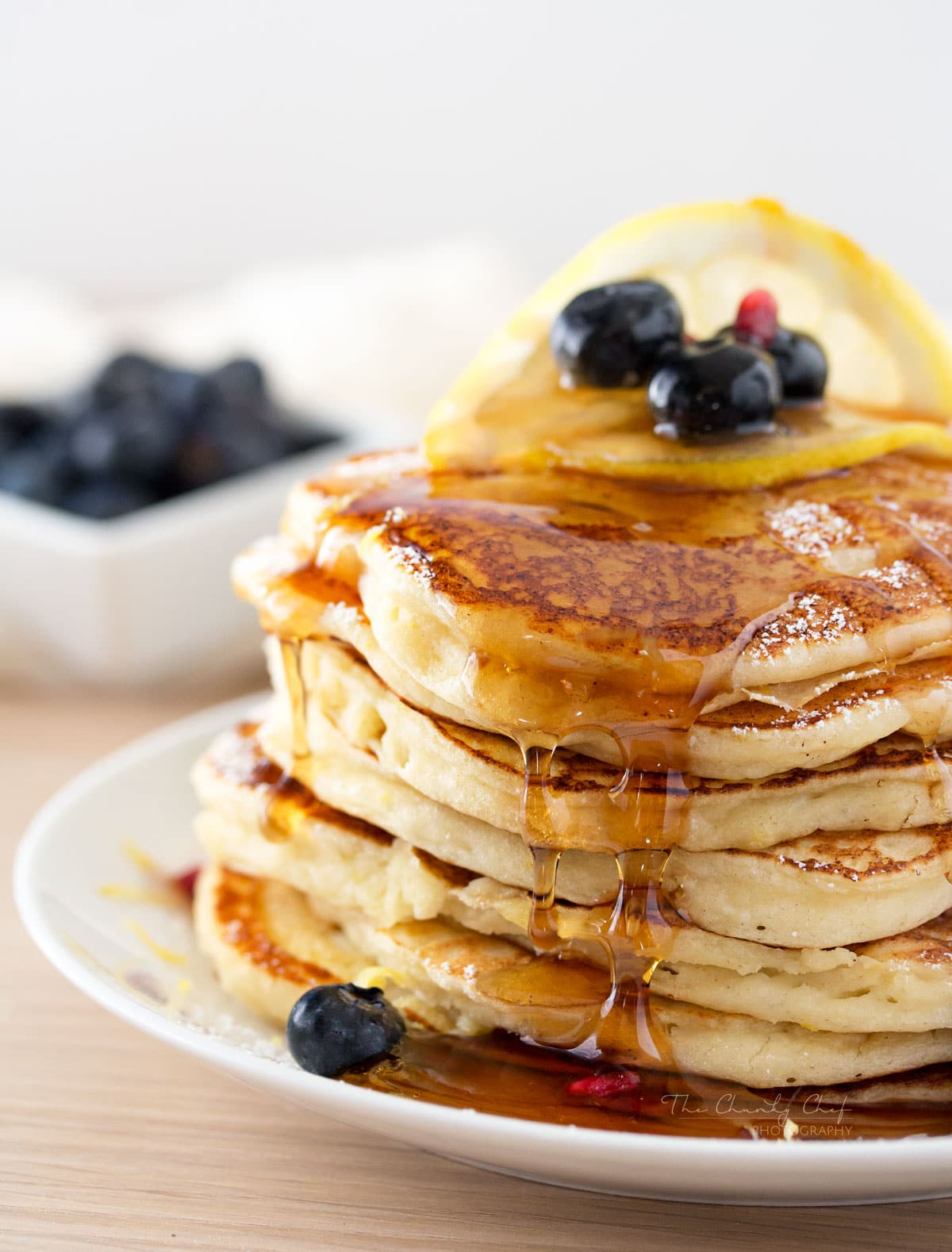 Lemon Ricotta Pancakes - The Chunky Chef