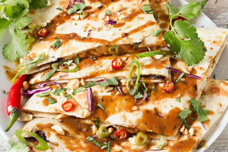 Thai Peanut Chicken Quesadillas