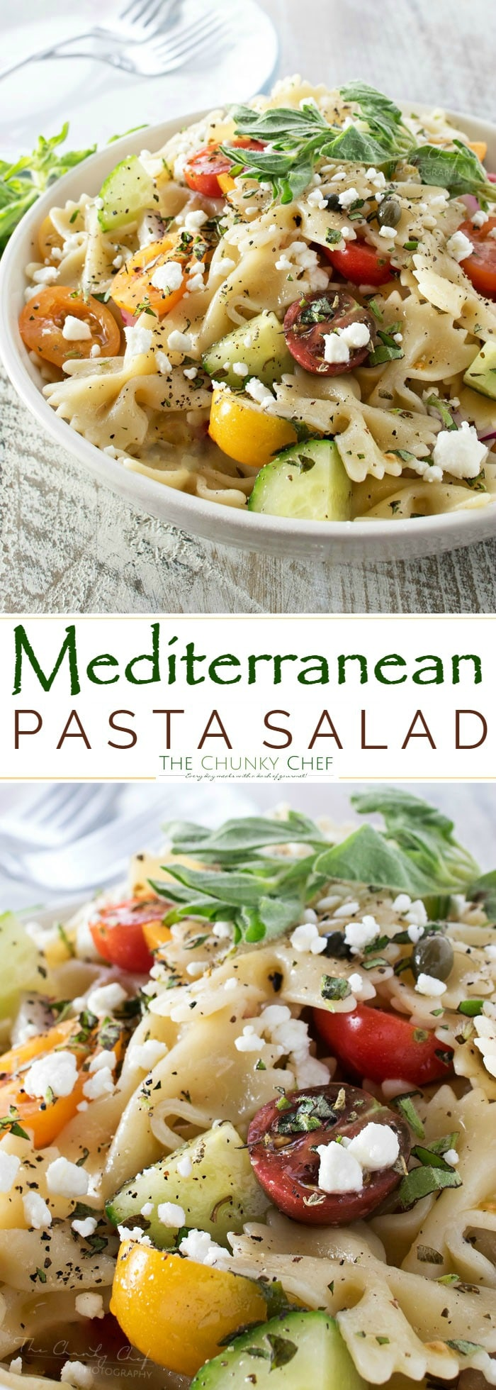 Mediterranean Pasta Salad | Step up your pasta salad game with this fresh and colorful Mediterranean pasta salad with red wine and herb dressing! Homemade is always the best! | http://thechunkychef.com