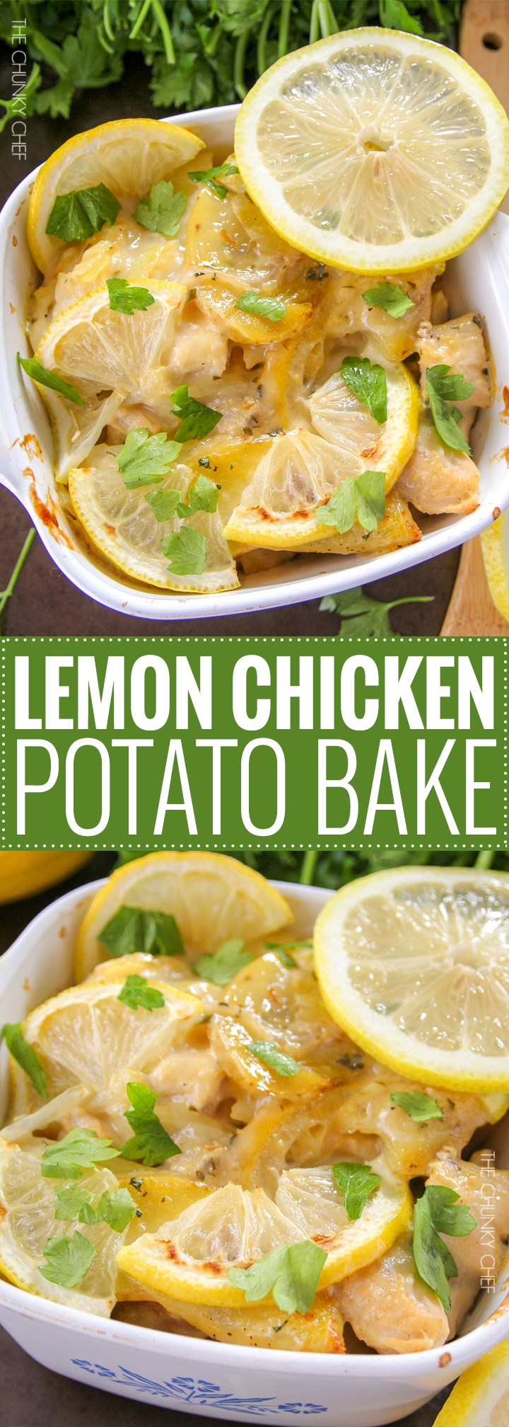 Lemon Chicken and Potato Bake | Chicken and potatoes are baked with lemon slices in a creamy casserole that's sure to fill you up and make you smile! | http://thechunkychef.com