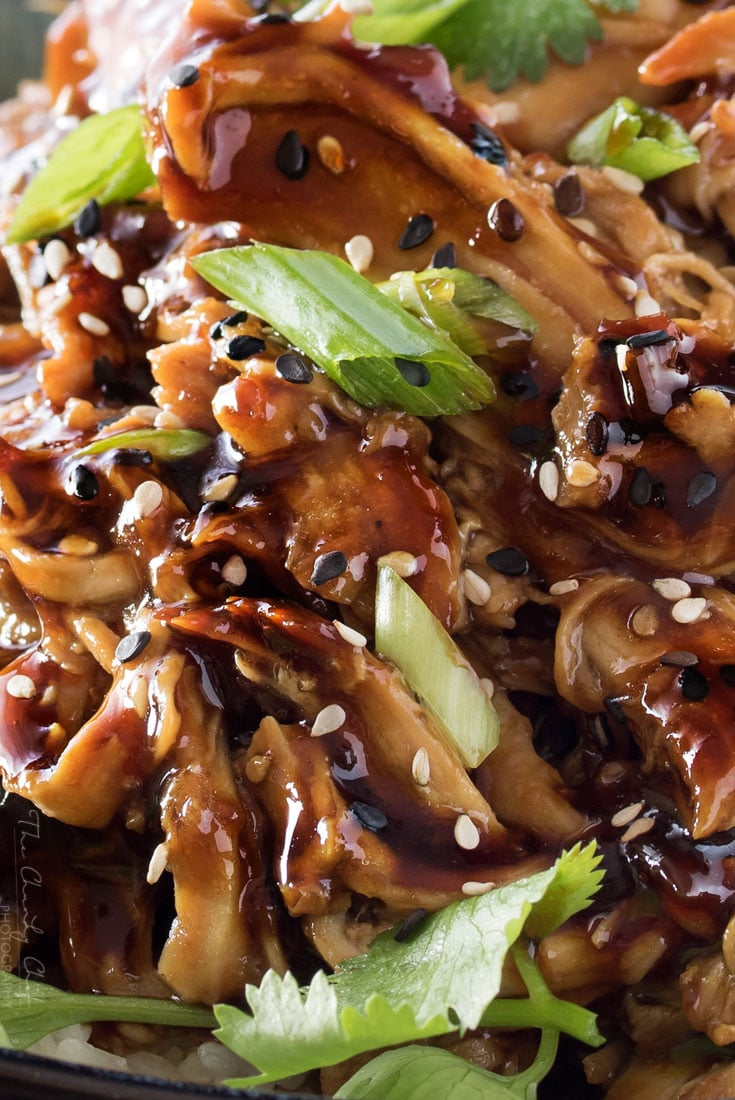 Slow Cooker Honey Garlic Chicken | Tender, moist, honey garlic chicken made easy in the slow cooker, and coated in the most glorious homemade honey garlic and orange sauce! | http://thechunkychef.com