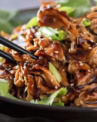 This Honey Garlic Chicken is one incredible weeknight dinner idea. Juicy chicken coated and cooked with a glorious sauce made with soy, hoisin, garlic, honey and more! Toss it all in the slow cooker and let it do the work for you! #dinner #chicken #asian #honey #garlic #honeygarlic #easyrecipe #weeknight #slowcooker #crockpot
