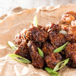 Bourbon Cider Boneless Wings   The ultimate boneless wings, marinated in buttermilk, fried until crispy, and tossed in a mouthwatering spicy bourbon apple cider sauce!   http://thechunkychef.com