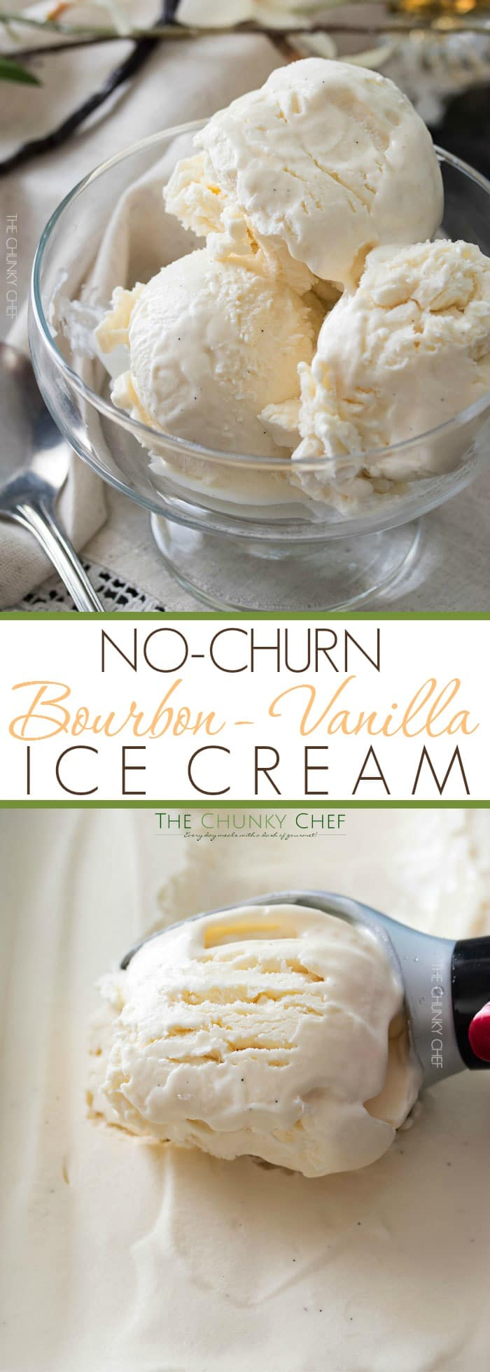 Bourbon Vanilla No Churn Ice Cream | This rich and creamy no churn ice cream is studded with flecks of vanilla bean and laced with warm Bourbon, for a tempting treat that's perfect year round! | http://thechunkychef.com