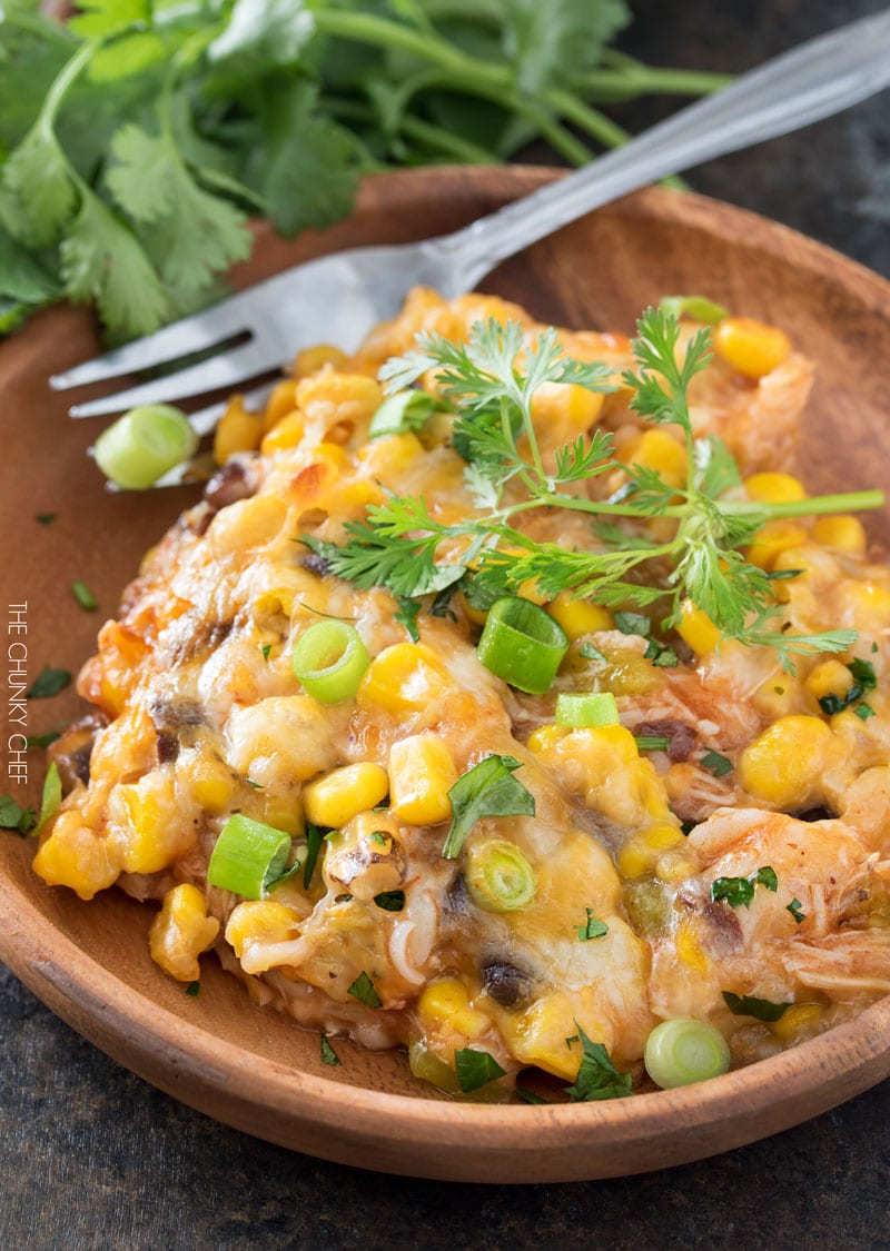Chicken and Rice Enchilada Casserole | The hearty enchilada casserole uses leftover chicken for a great 35 minute weeknight meal! | http://thechunkychef.com