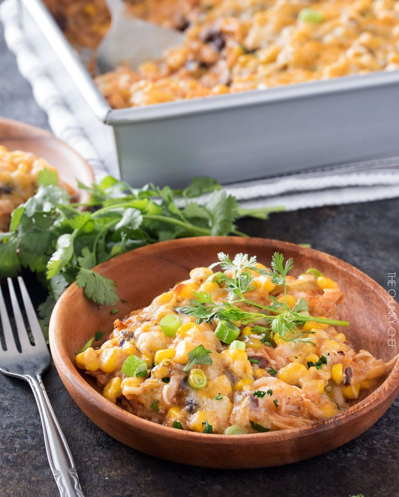 Chicken and Rice Enchilada Casserole | This hearty enchilada casserole uses leftover chicken for a great 35 minute weeknight meal! | http://thechunkychef.com
