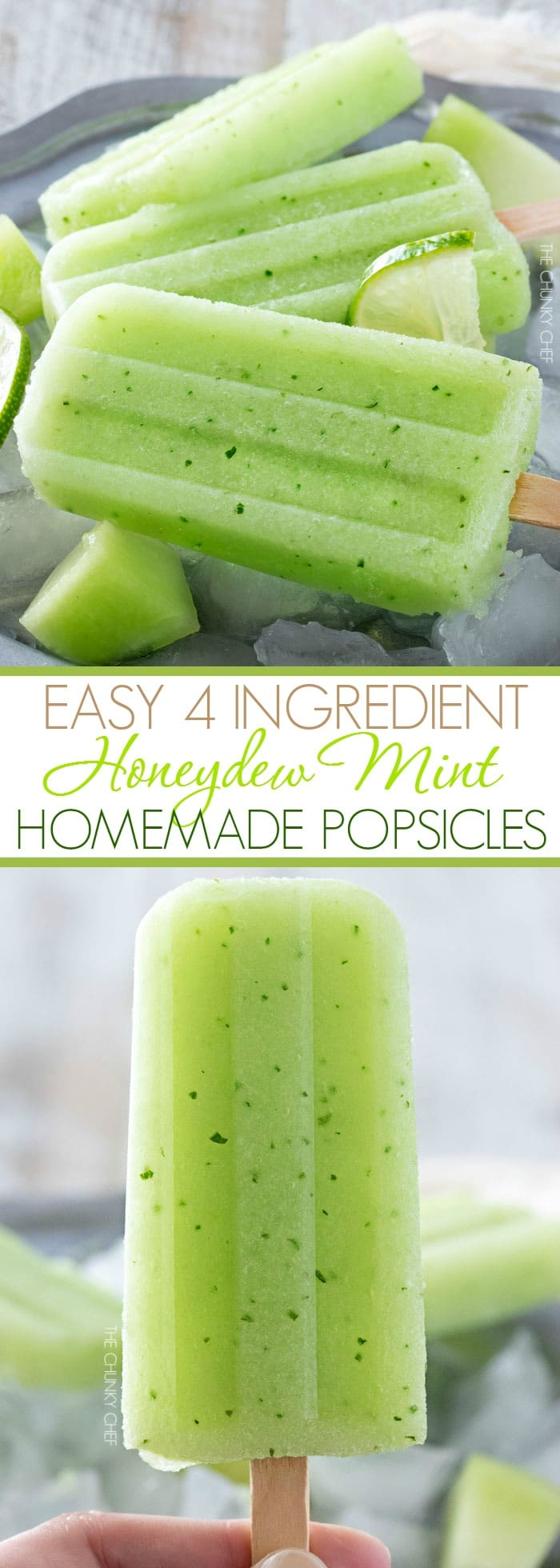 Honeydew Mint Homemade Popsicles | The refreshing taste of sweet honeydew melon and fresh mint will make these easy 4 ingredient homemade popsicles an instant favorite! | http://thechunkychef.com