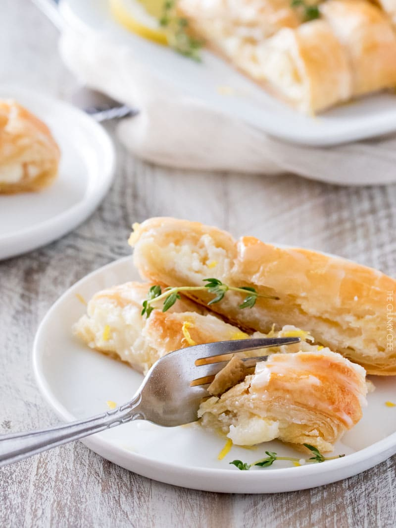 Lemon Almond Cheese Danish | Breakfast pastries don't have to be complicated... this delicate and delicious lemon almond cheese danish is made easy with puff pastry! | http://thechunkychef.com