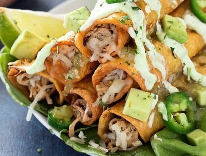 Slow Cooker Salsa Verde Pork Taquitos - The Chunky Chef