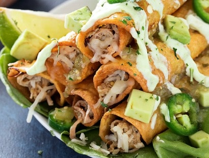 Slow Cooker Salsa Verde Pork Taquitos