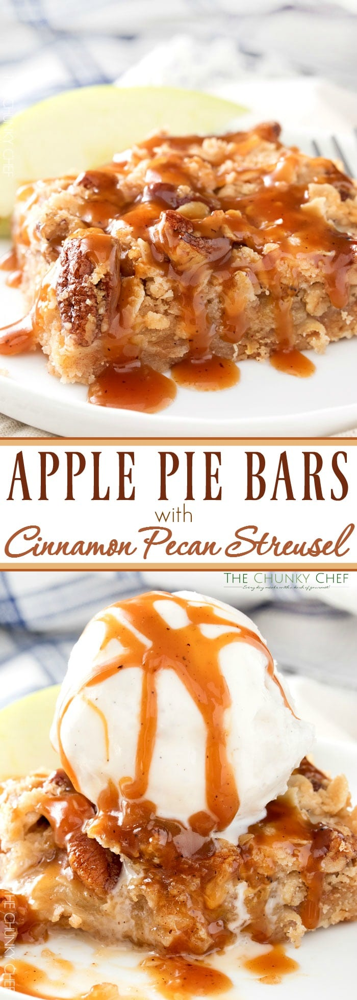 Caramel Apple Pie Bars with Cinnamon Pecan Streusel | All the classic flavors of a Dutch caramel apple pie, in an easy bar dessert! | http://thechunkychef.com