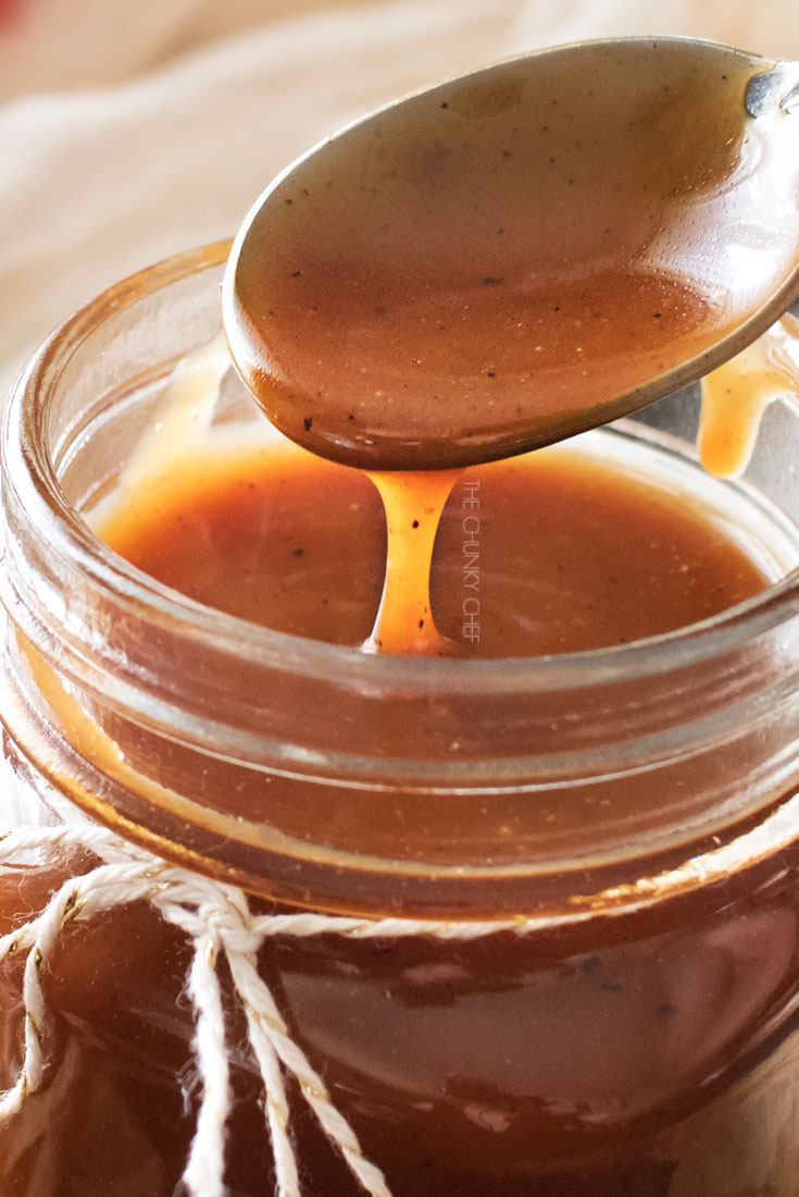 Browned Butter Salted Caramel Sauce | Browned butter gives this homemade salted caramel sauce a deliciously deep flavor! | http://thechunkychef.com