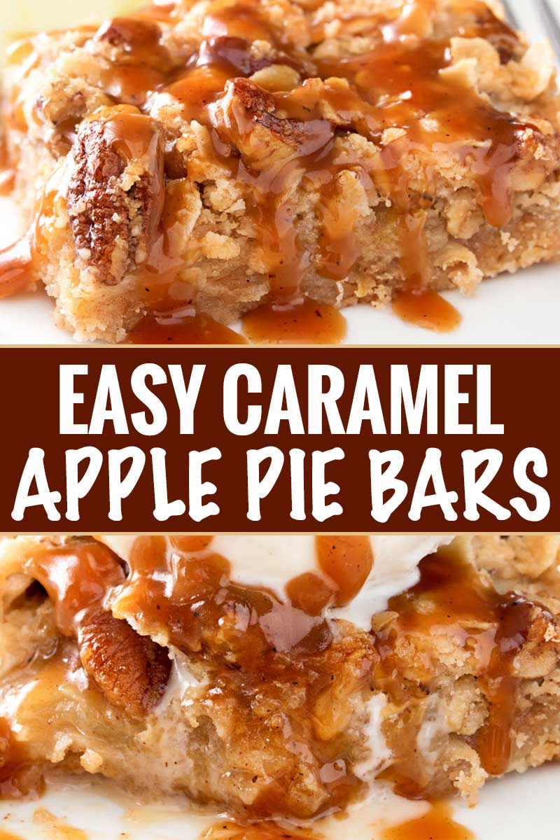 These Caramel Apple Pie Bars have all the classic flavors of a Dutch caramel apple pie, in an easy to make bar dessert form! The cinnamon pecan streusel topping is to die for, and don't forget the browned butter caramel sauce! #applepie #falldessert #applebars #caramelapple #caramel #alamode #easydessert #dessertrecipe