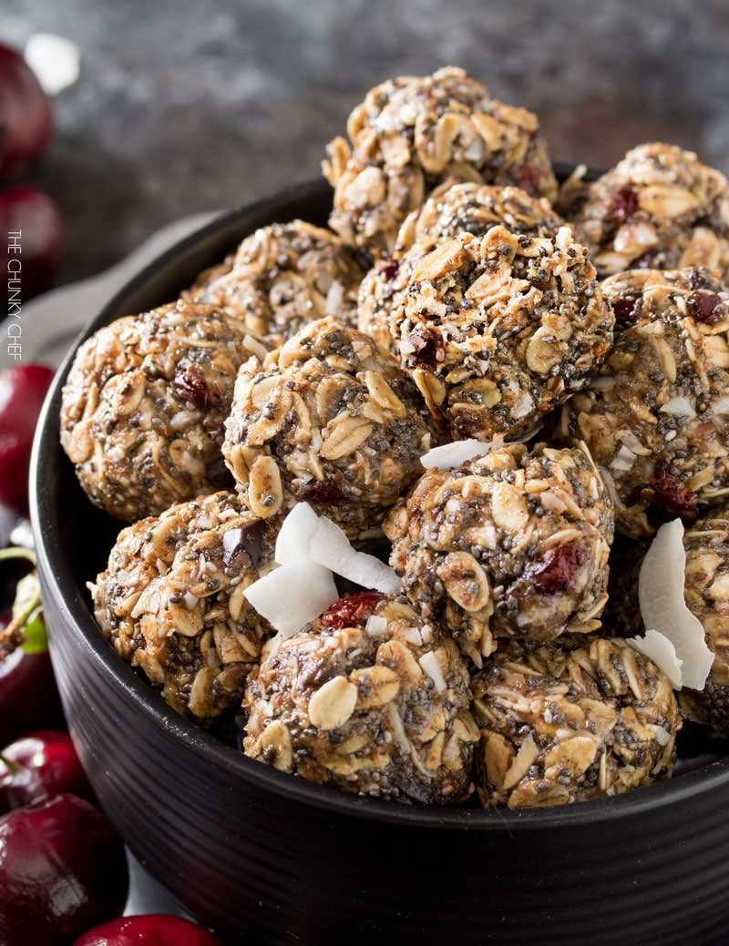 Cherry Chocolate Almond Energy Balls | Delicious energy balls studded with sweet dried cherries and flecks of decadent dark chocolate! |http://thechunkychef.com