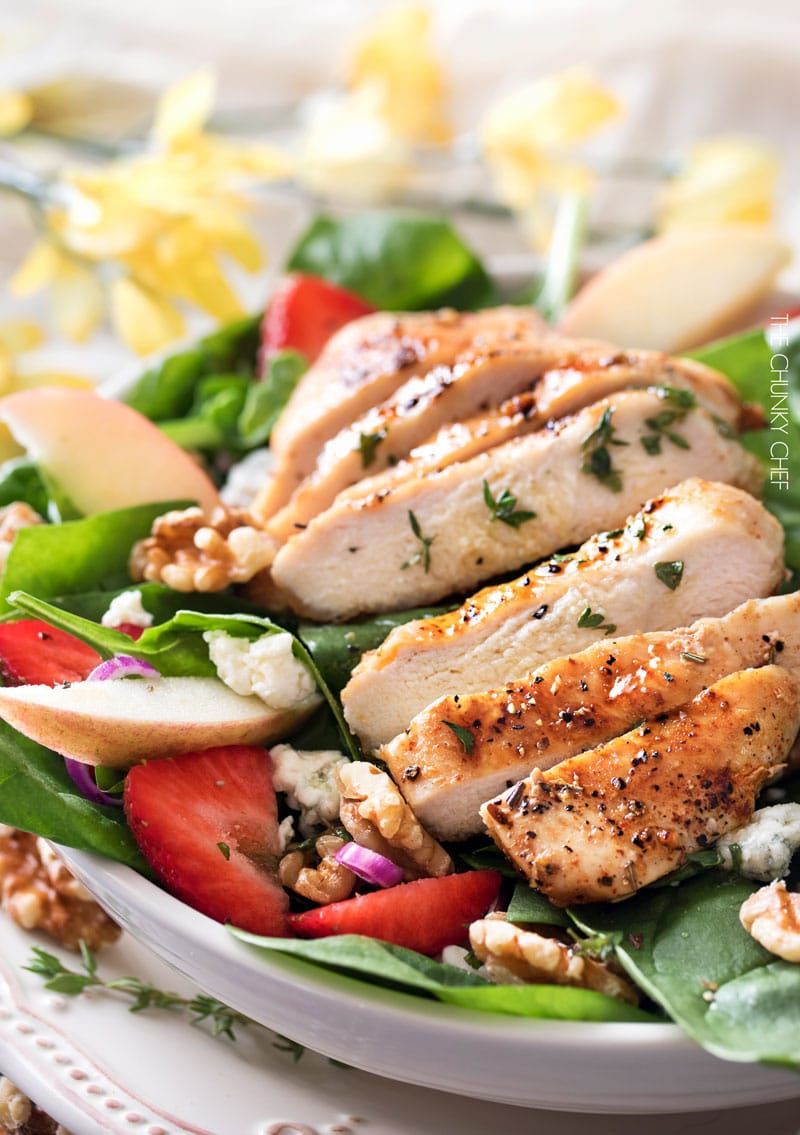 Grilled Chicken Strawberry Spinach Salad - The Chunky Chef