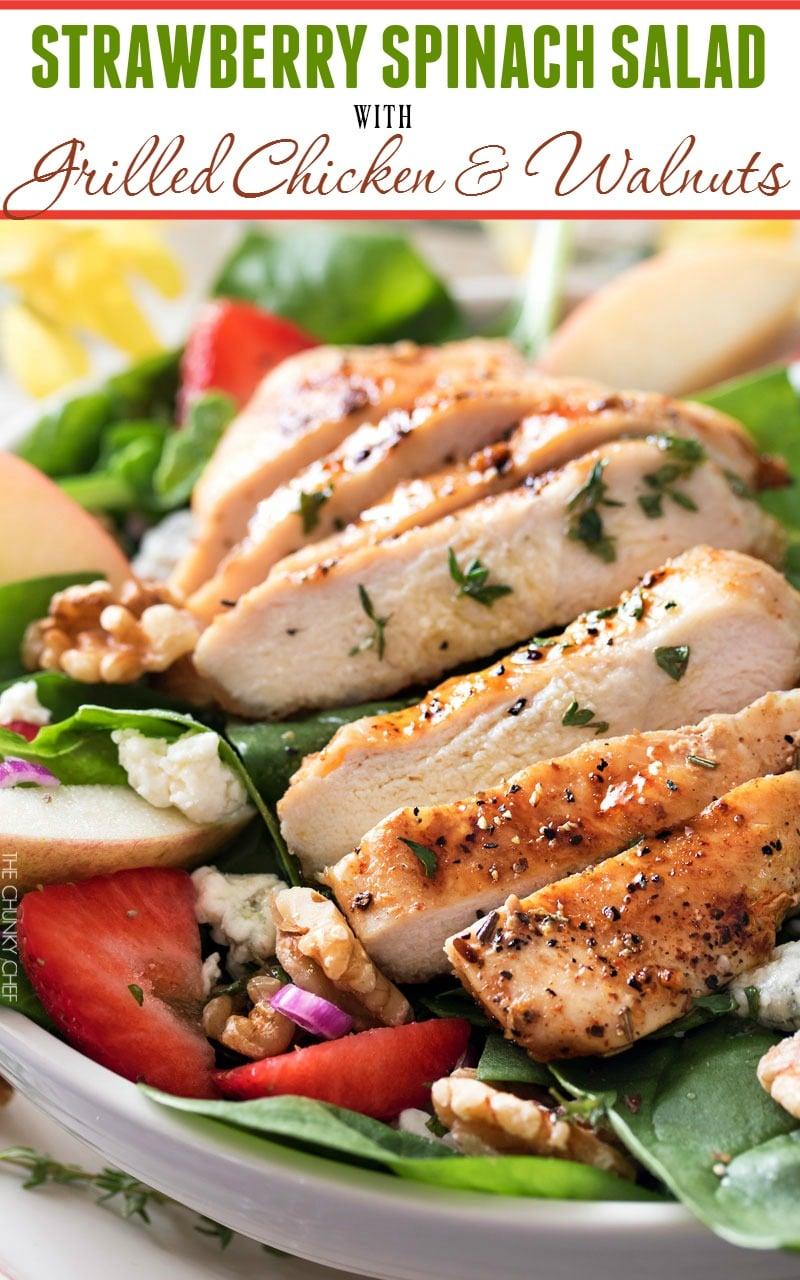 Chicken Strawberry Spinach Salad | This strawberry spinach salad ...