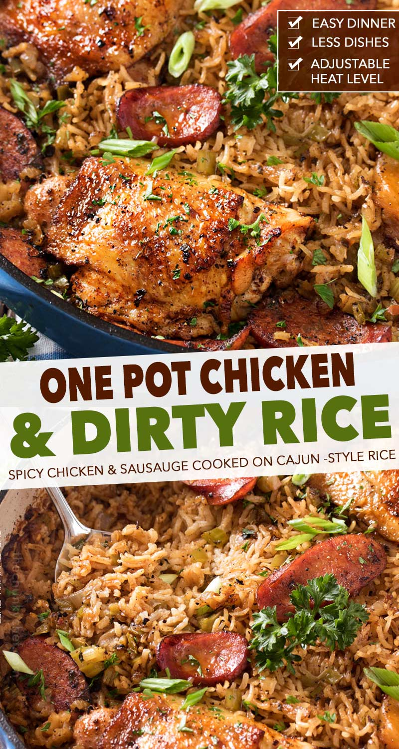 One Pot Chicken and Dirty Rice | Spicy chicken thighs are cooked on top of a homemade dirty rice, which makes for the most flavorful Cajun-inspired dish you've ever had! Plus, all you need is one pot! #dinner #chicken #dirty rice #cajun #onepot #onepan #easyrecipe